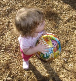 toddler with bal